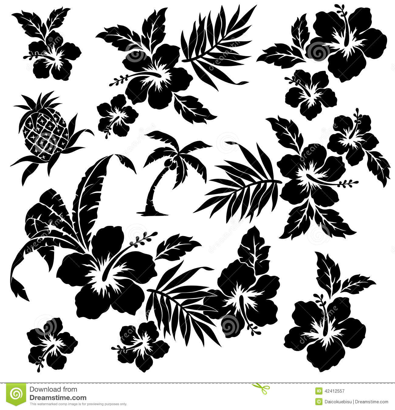 Tropical Plant And Flower Stock Vector Image 42412557