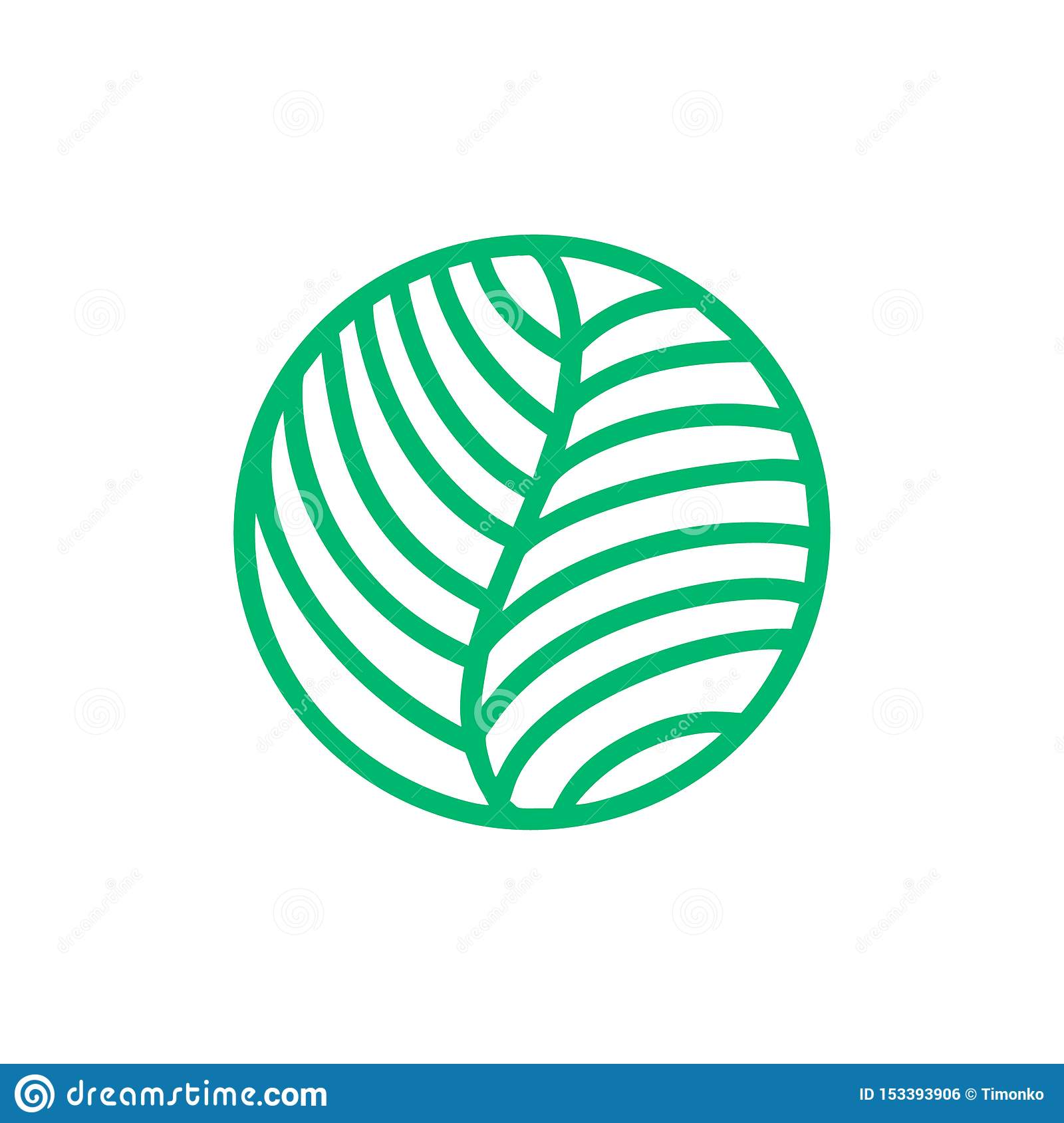 Tropical Plant Green Leaves Logo . Round Bio Emblem In A