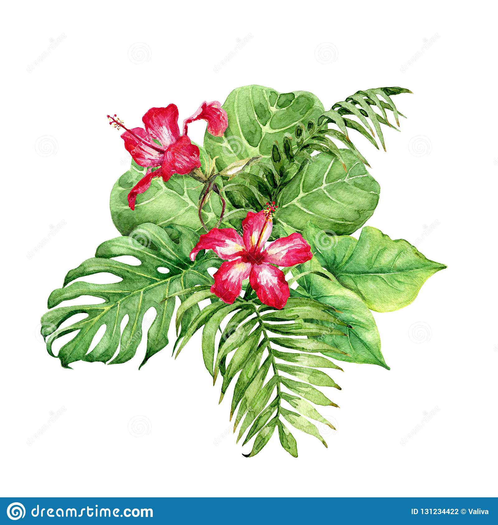 Tropical Plants Bunch With Hibiscus Stock Illustration