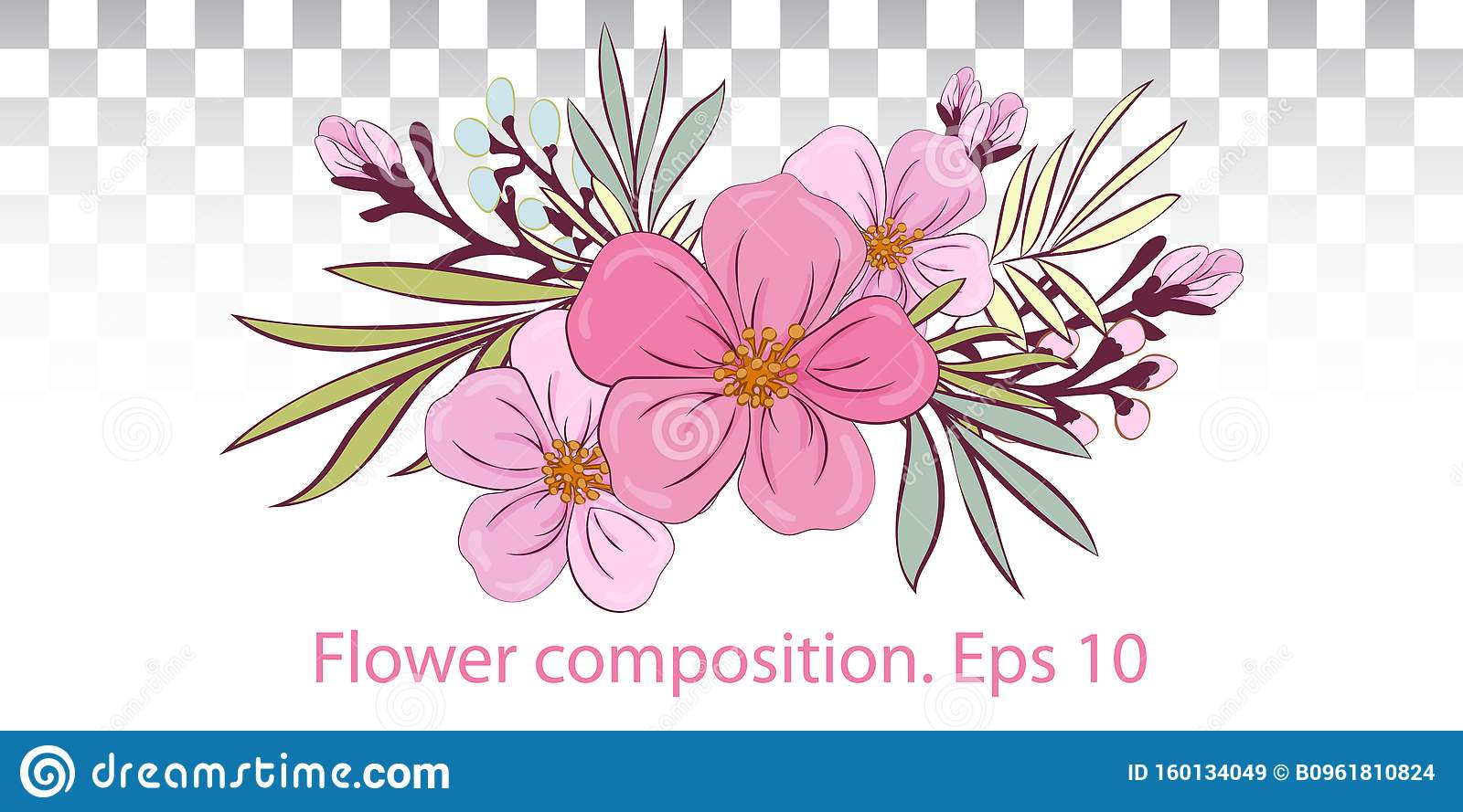 Vector Wedding Invite Invitation Greeting Card Design Floral Bouquet With Pink Flowers And Leaves Of Plants Vector Eps10 Stock Vector Illustration Of Anniversary Frame 160134049
