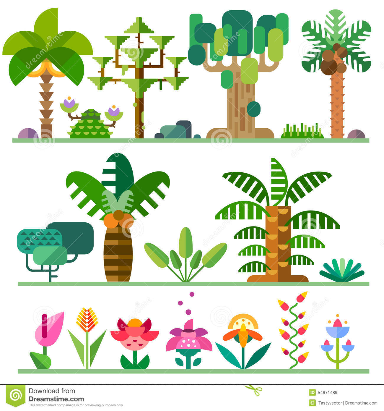 Tropical Plants Stock Vector Image 54971489