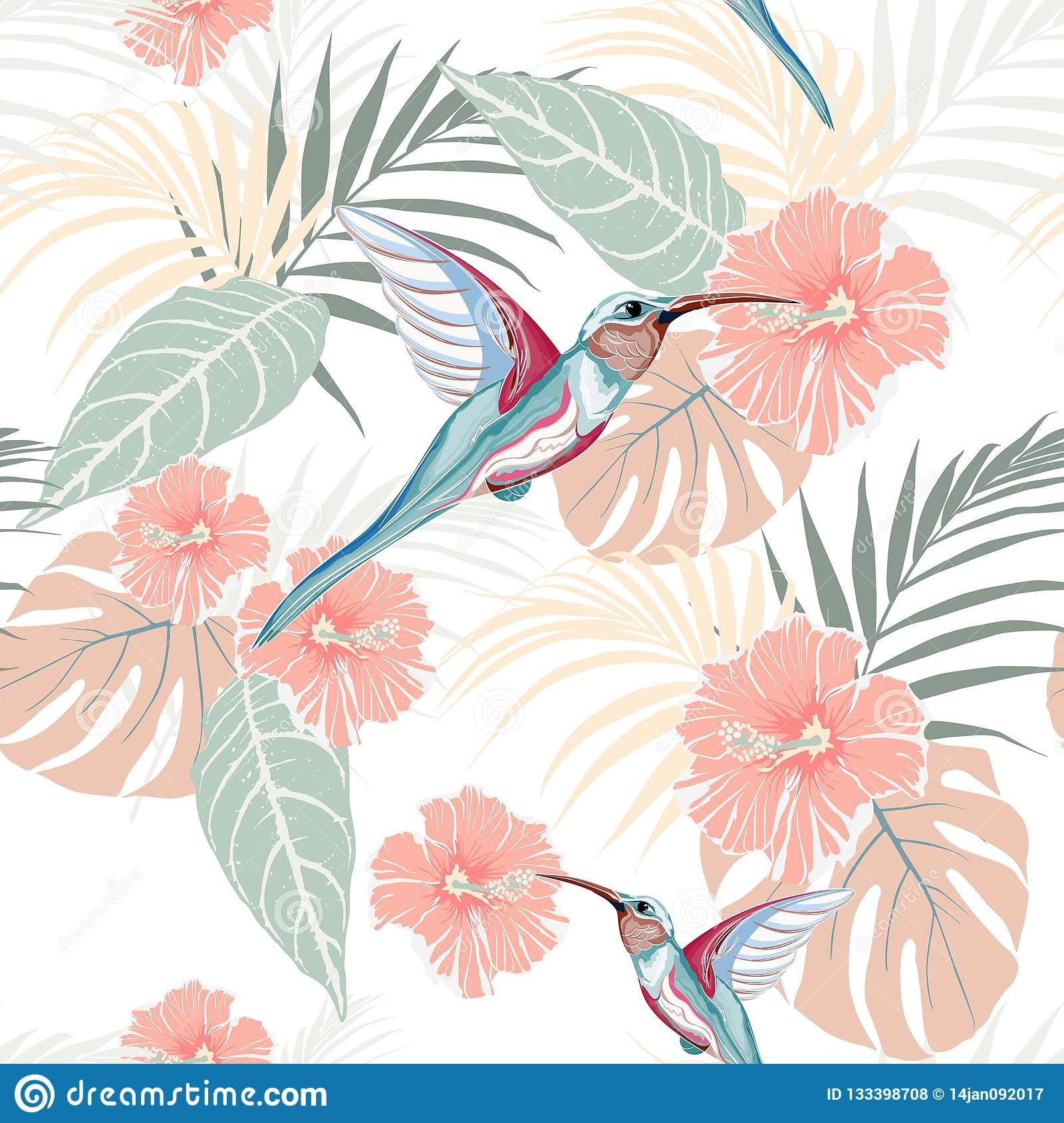 Tropical Plants Hibiscus And Colibri Bird Seamless Tropical