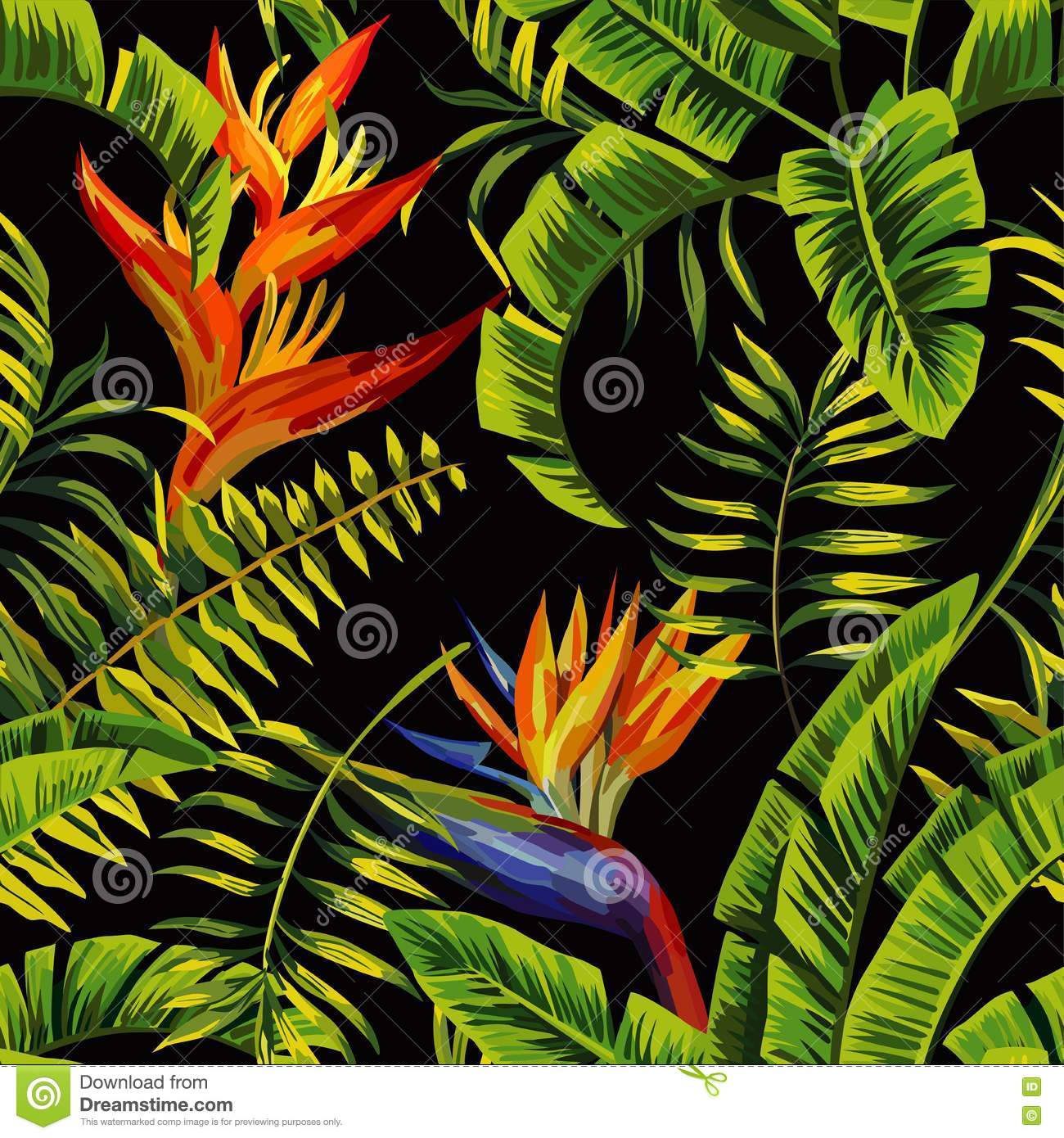 Tropical Plants Painting Seamless Background Stock Vector