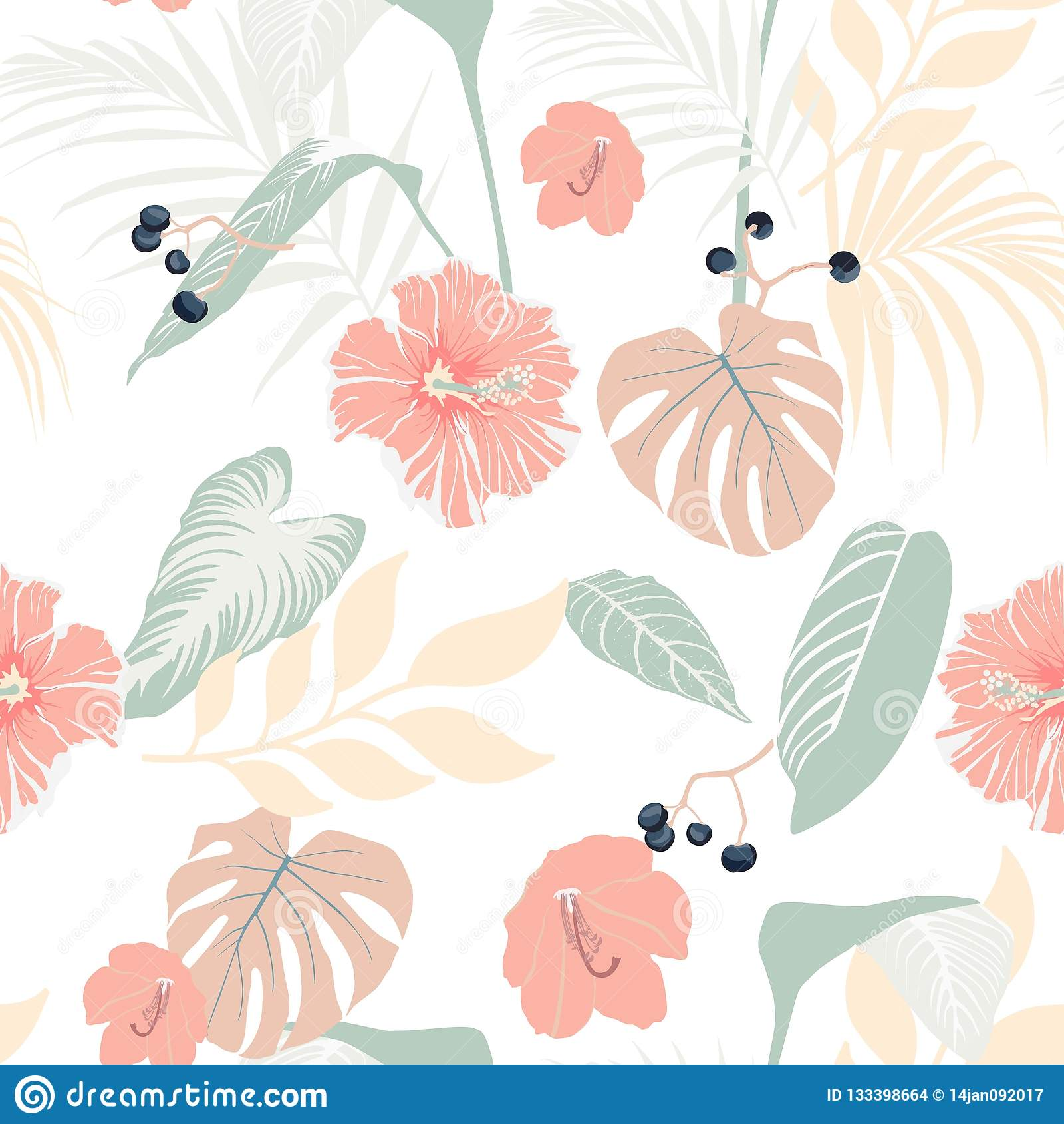 Tropical plants and pastel hibiscus. Seamless tropical pattern, background.