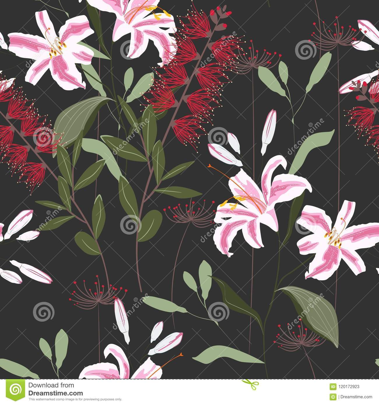 Tropical Plants Royal Lilies Flowers And Leaves Seamless Pattern On