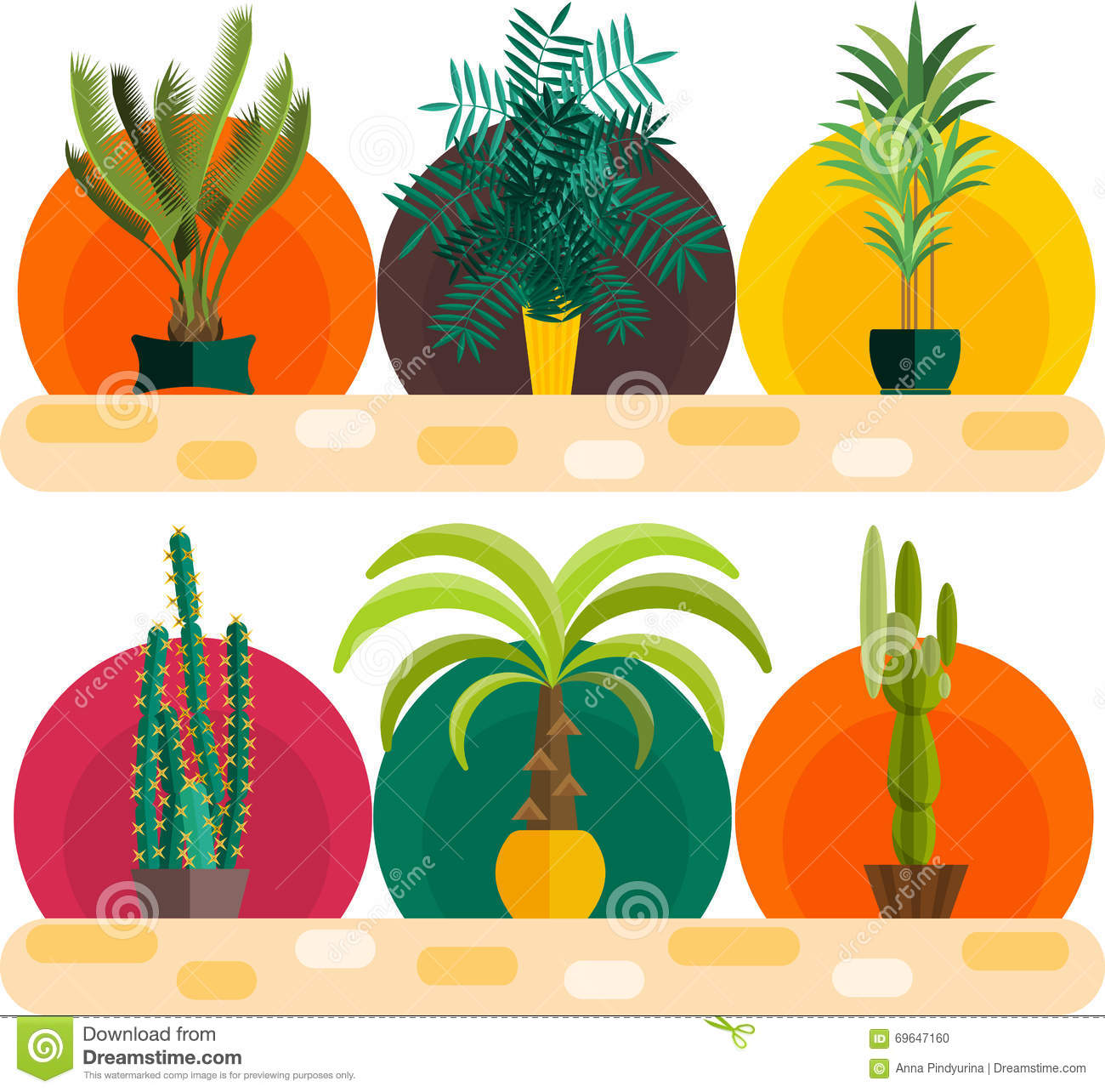 Plant top view vector in group download free vector art stock - Tropical Plants Set Of Flat Potted Houseplants Stock Vector