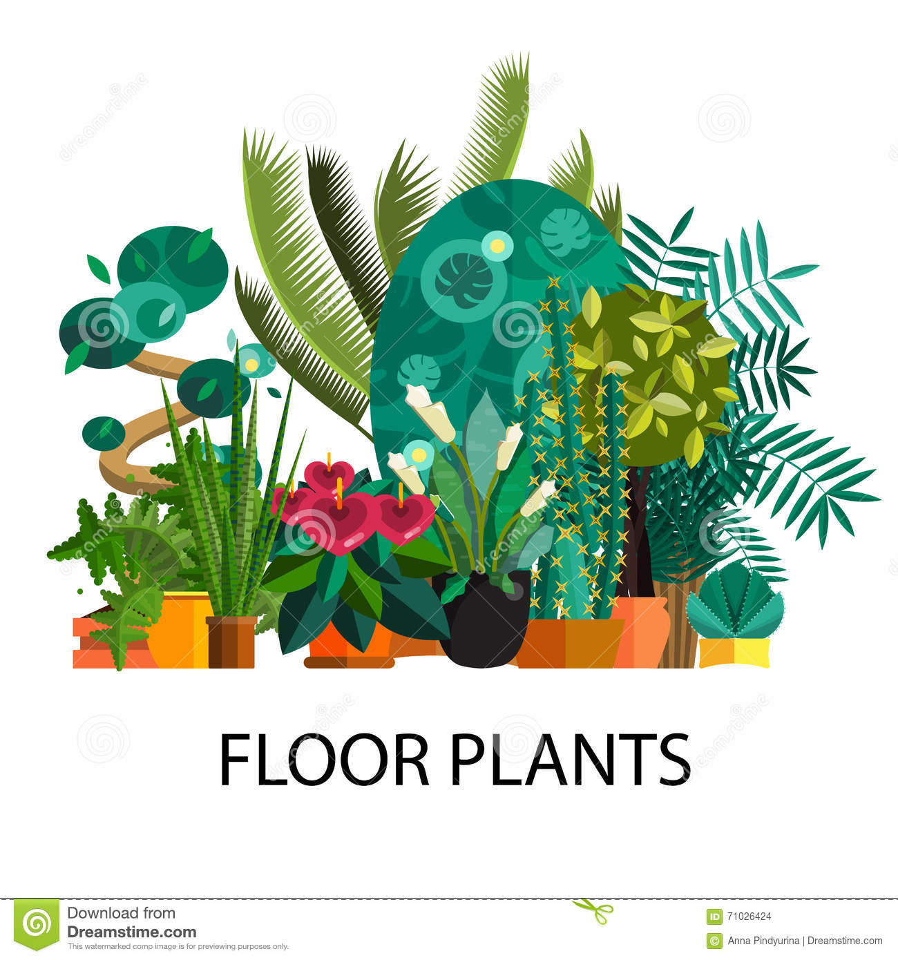 Houseplants vector flat set isolated cartoon vector for Plant nursery