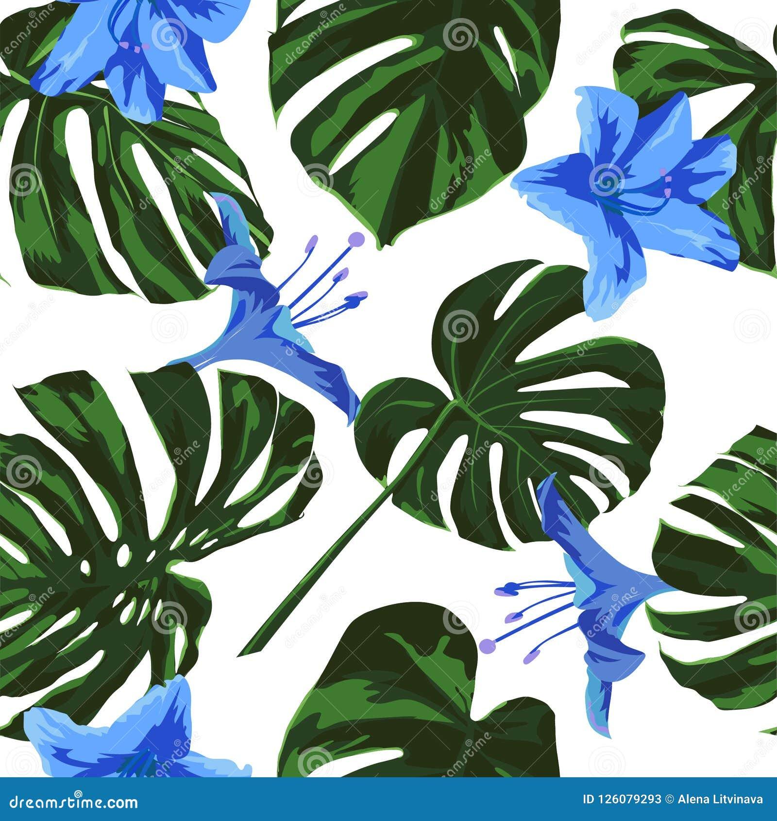 Tropical Print Jungle Seamless Pattern Vector Tropic Summer Motif