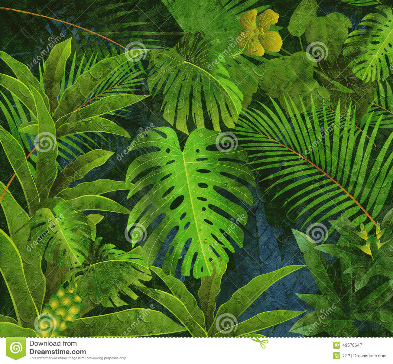 Tropical Rainforest Oil Painting Background Stock Illustration