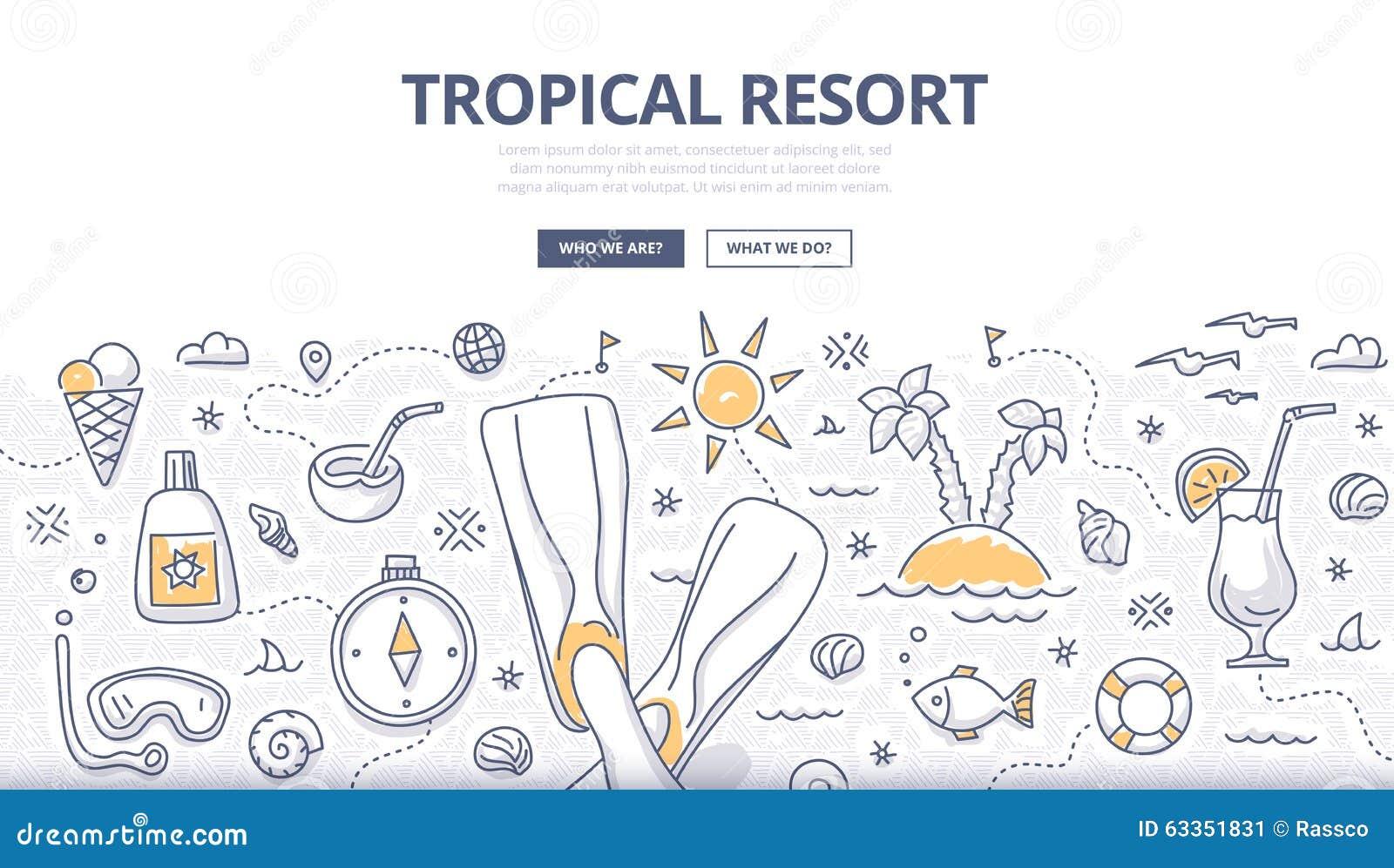 Tropical Resort Doodle Concept Stock Vector Image 63351831
