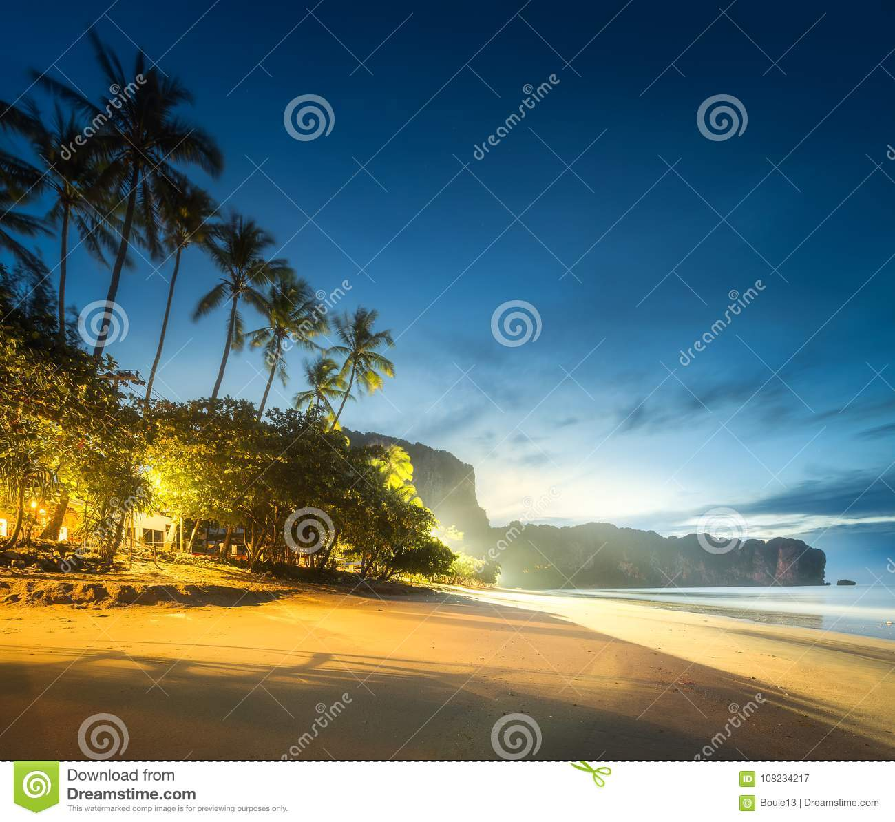 Tropical Resort Palm And Coast Of Thailand Beach Stock