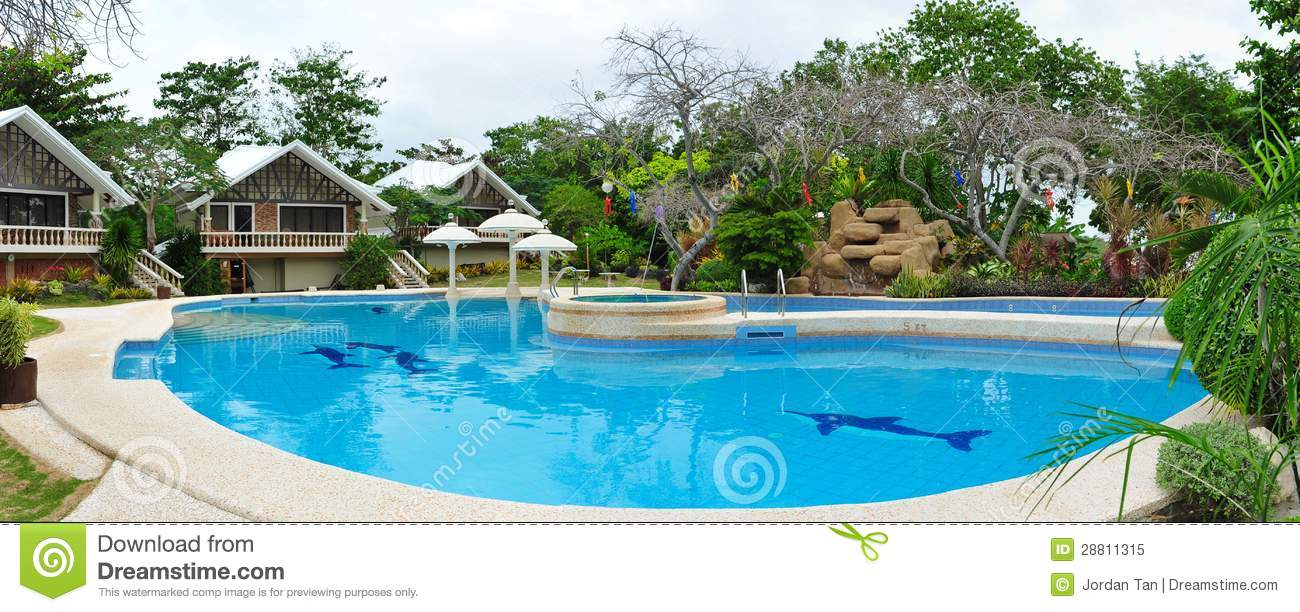 Tropical Resort Pool At Bantayan Island In Philippines Royalty Free ...