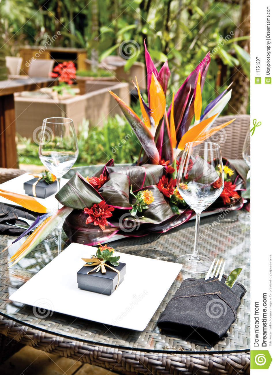 Tropical Resort Style Table Setup Stock Image Image Of