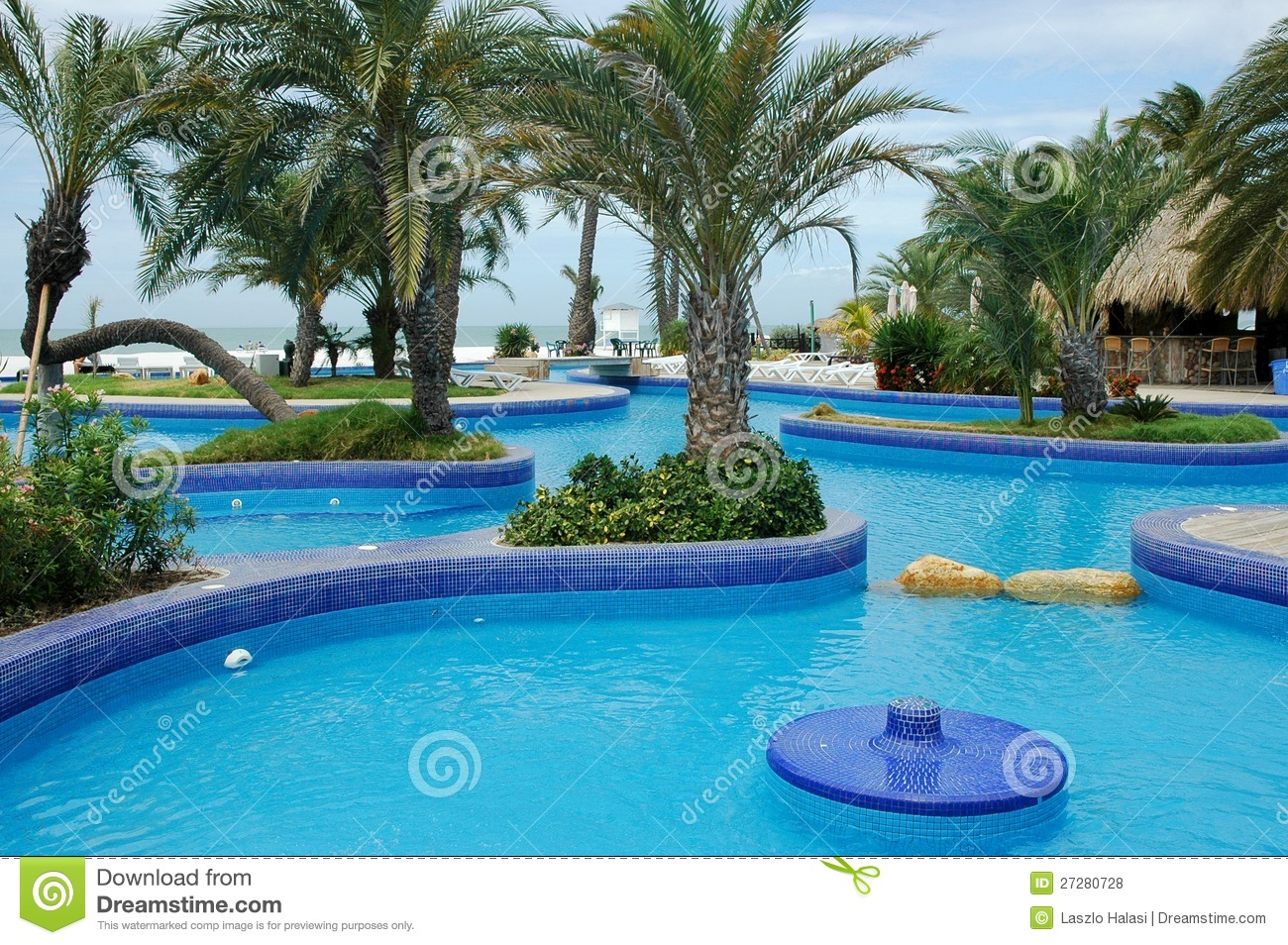 Tropical resort with swimming pool royalty free stock for Pool time pools