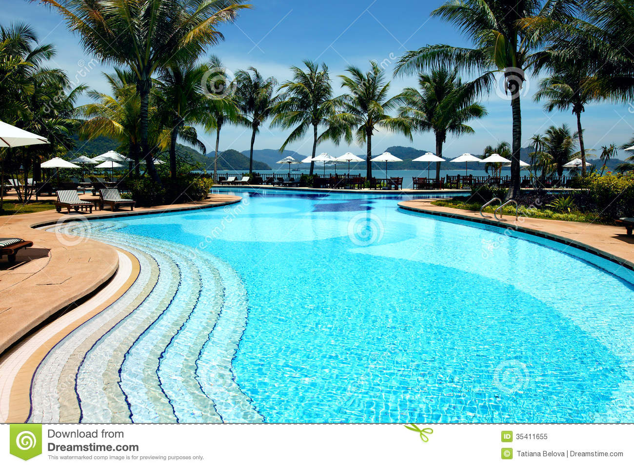 Tropical resort with swimming pool royalty free stock for Pictures of beautiful swimming pools
