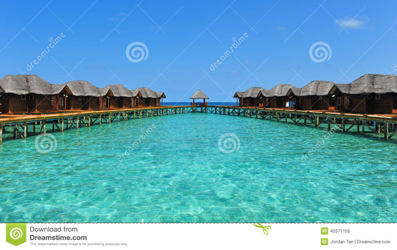 Tropical resort with water bungalows in Maldives