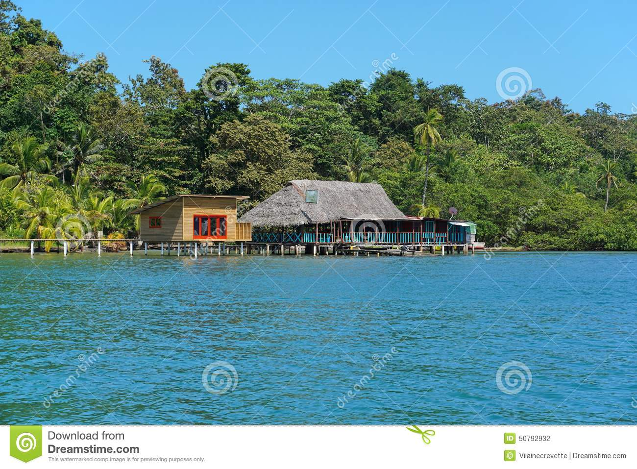Tropical restaurant and cabin over water in panama stock photo image 50792932 - Isolated contemporary design cabin straddles rocks on norwegian island ...