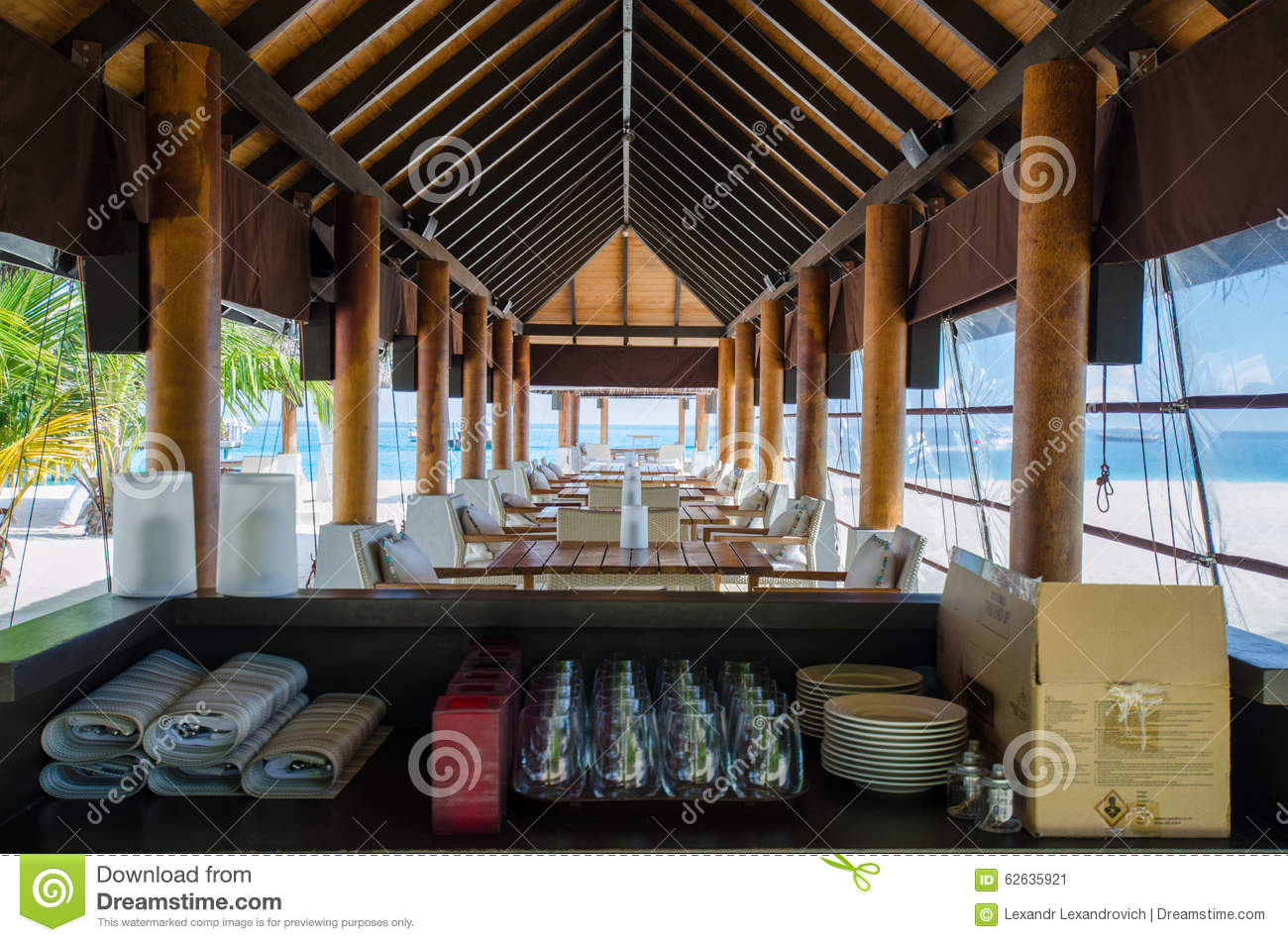 tropical restaurant setup stock photo - image: 62635921