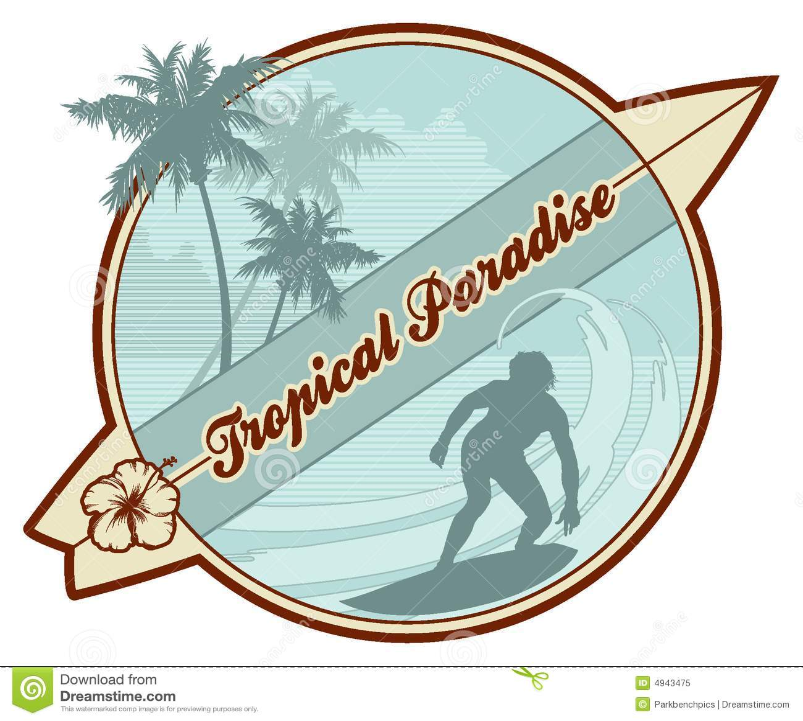 Retro Beach Illustration Royalty Free Stock Photo: Tropical Retro-surf Stock Vector. Illustration Of