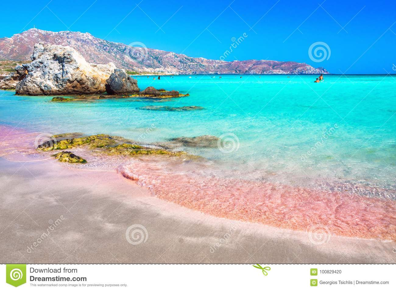 15db6659a9e423 Tropical Sandy Beach With Turquoise Water, In Elafonisi, Crete Stock ...