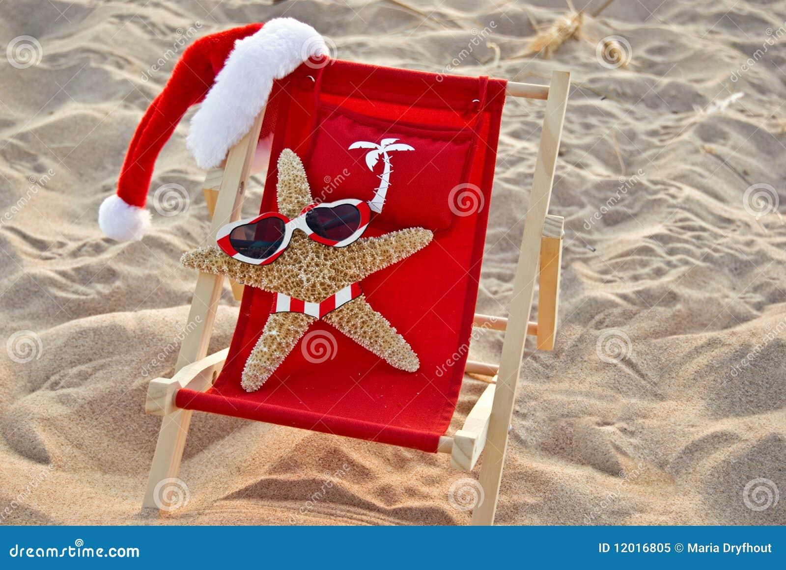 Santa Starfish on a red beach chair