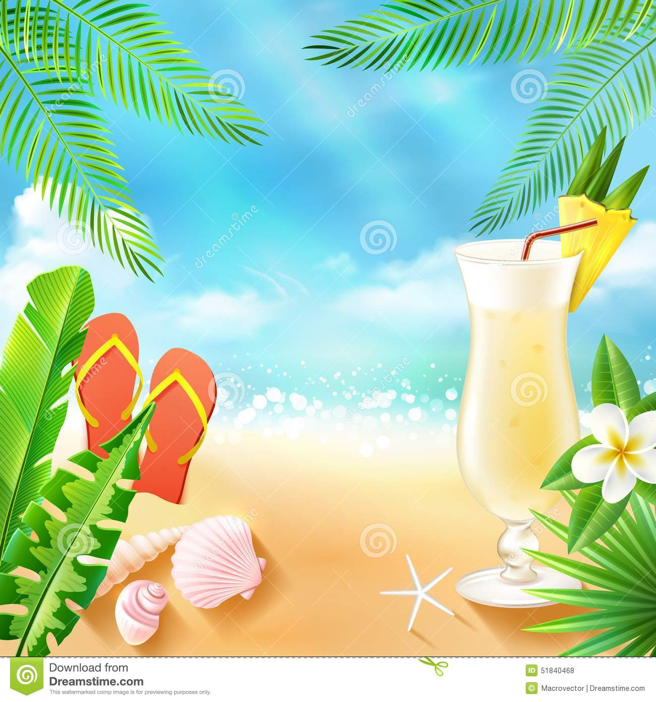 Tropical Sea Background Stock Vector Image 51840468