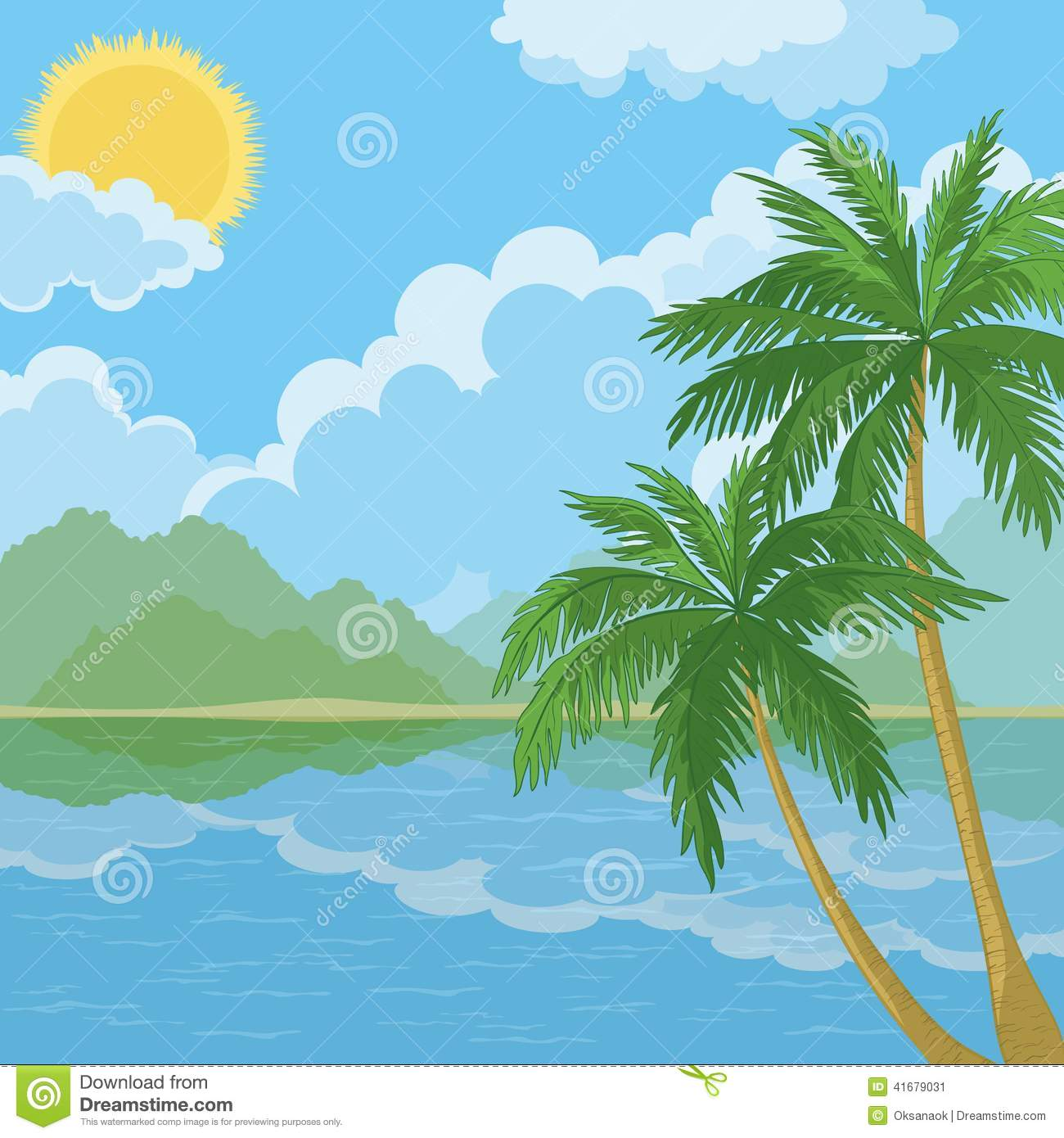Tropical Sea Landscape With Palm Trees Stock Vector