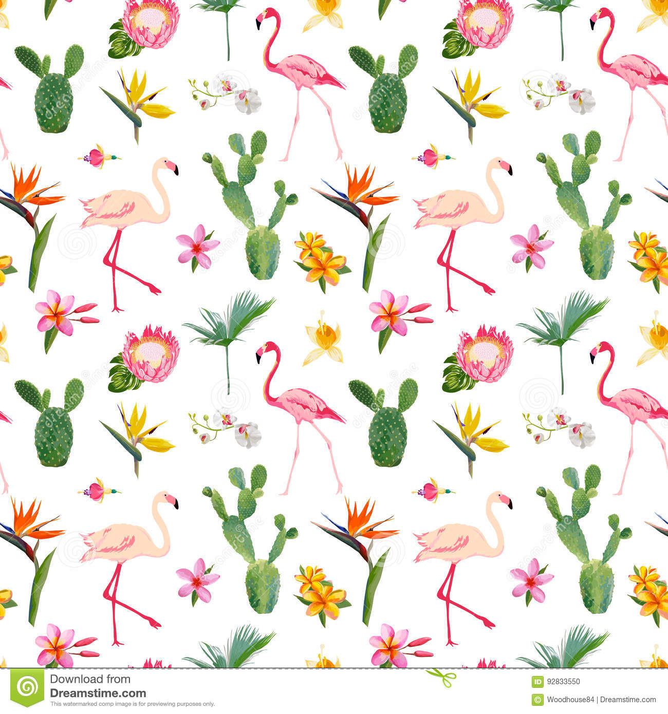 Tropical Seamless Floral Summer Pattern For Wallpapers