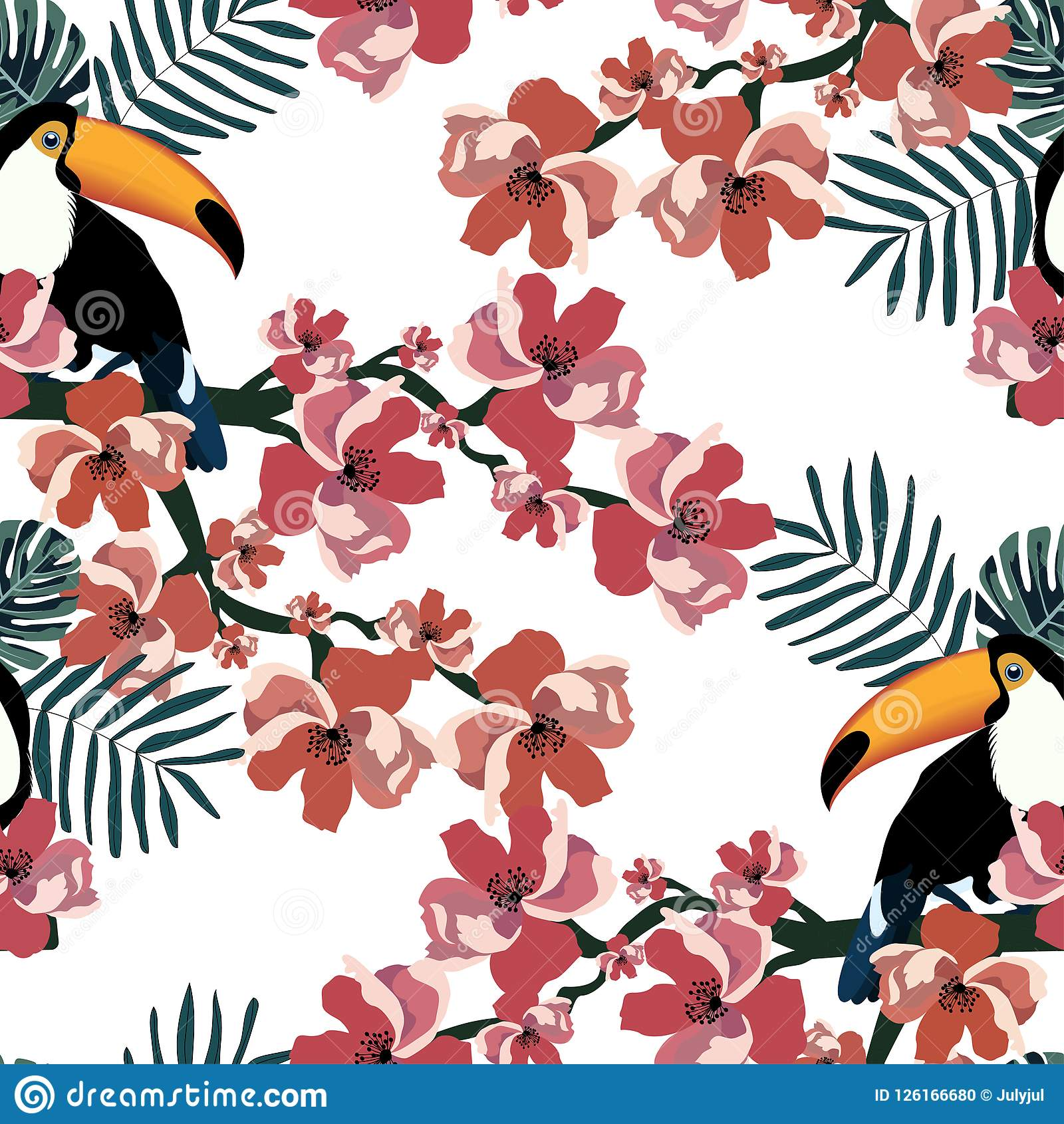Tropical Seamless Pattern With Cute Birds Leafs And Flowers Summer Vector Background With Toucans Textile Texture Stock Vector Illustration Of Funny Flowerssummer 126166680