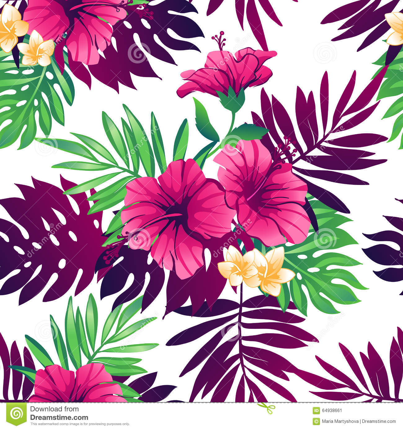 Tropical Seamless Pattern Stock Vector Image 64938661