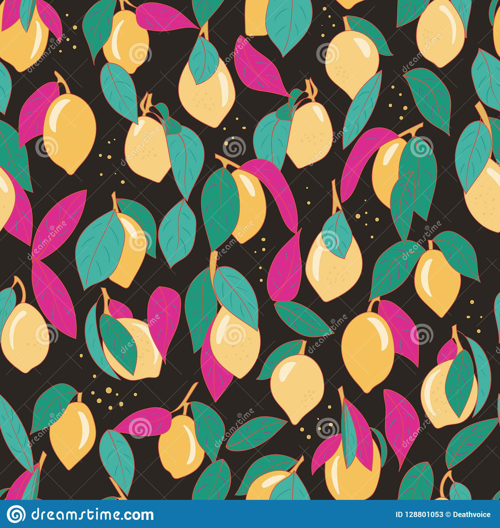 Tropical Seamless Pattern With Yellow Lemons Fruit Repeated