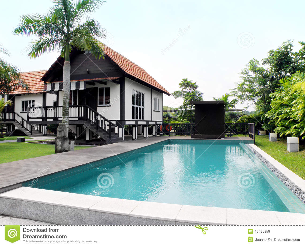 Tropical Style House With Pool And Landscaping Royalty ...