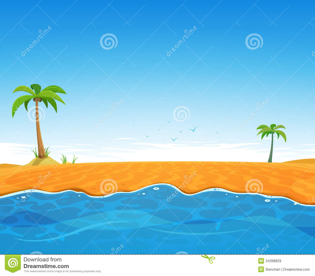 Beautiful Vintage Summer Seaside Illustration Royalty Free: Tropical Summer Beach Stock Vector. Illustration Of