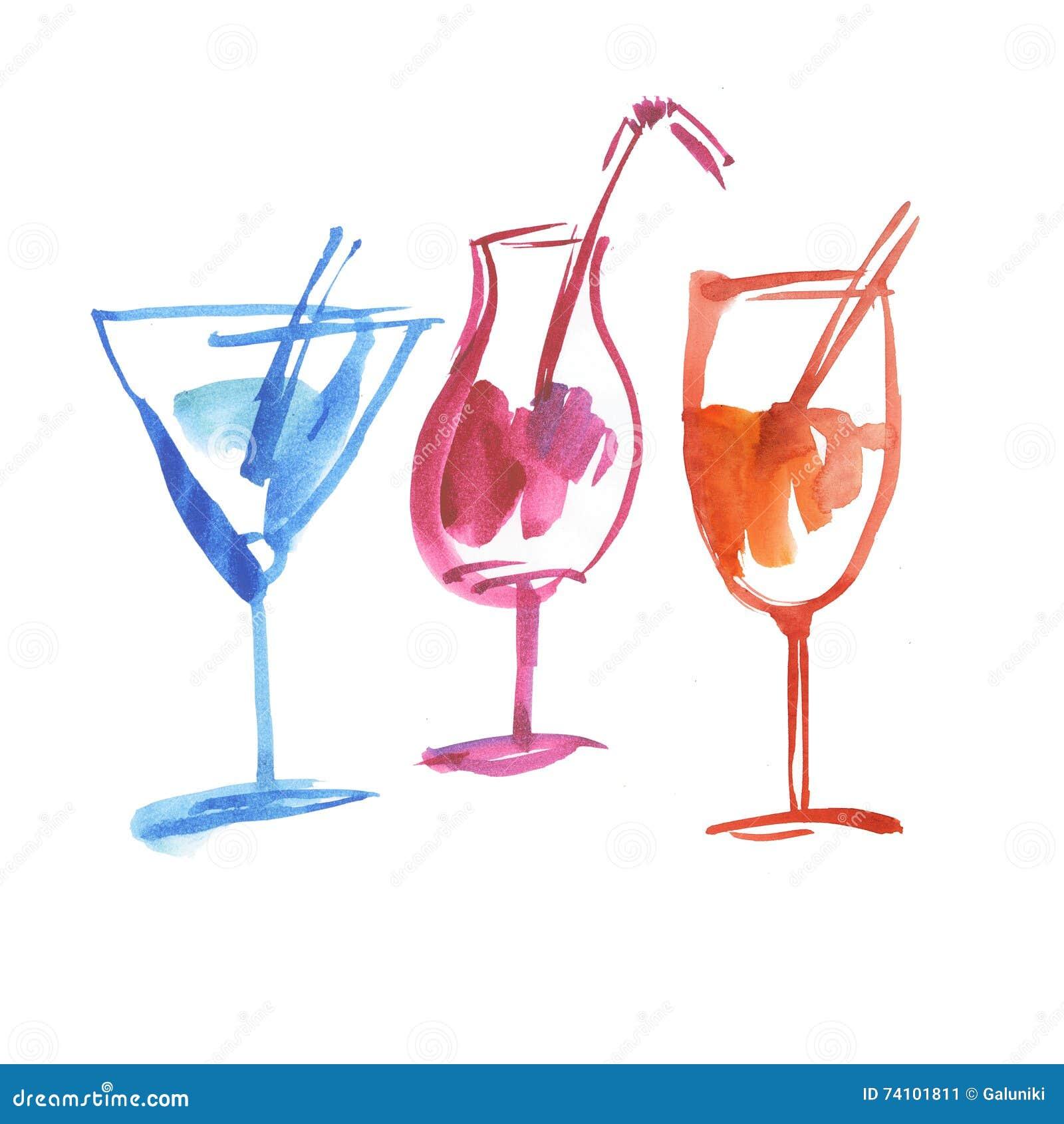 Tropical summer cocktail. stock illustration. Illustration ...