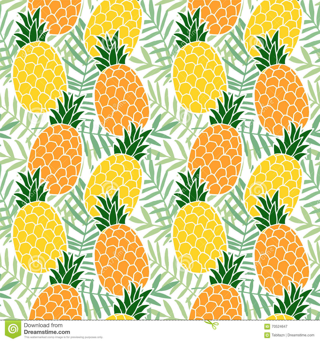 Tropical Summer Seamless Pattern. Pineapple Fruit, Palm ...