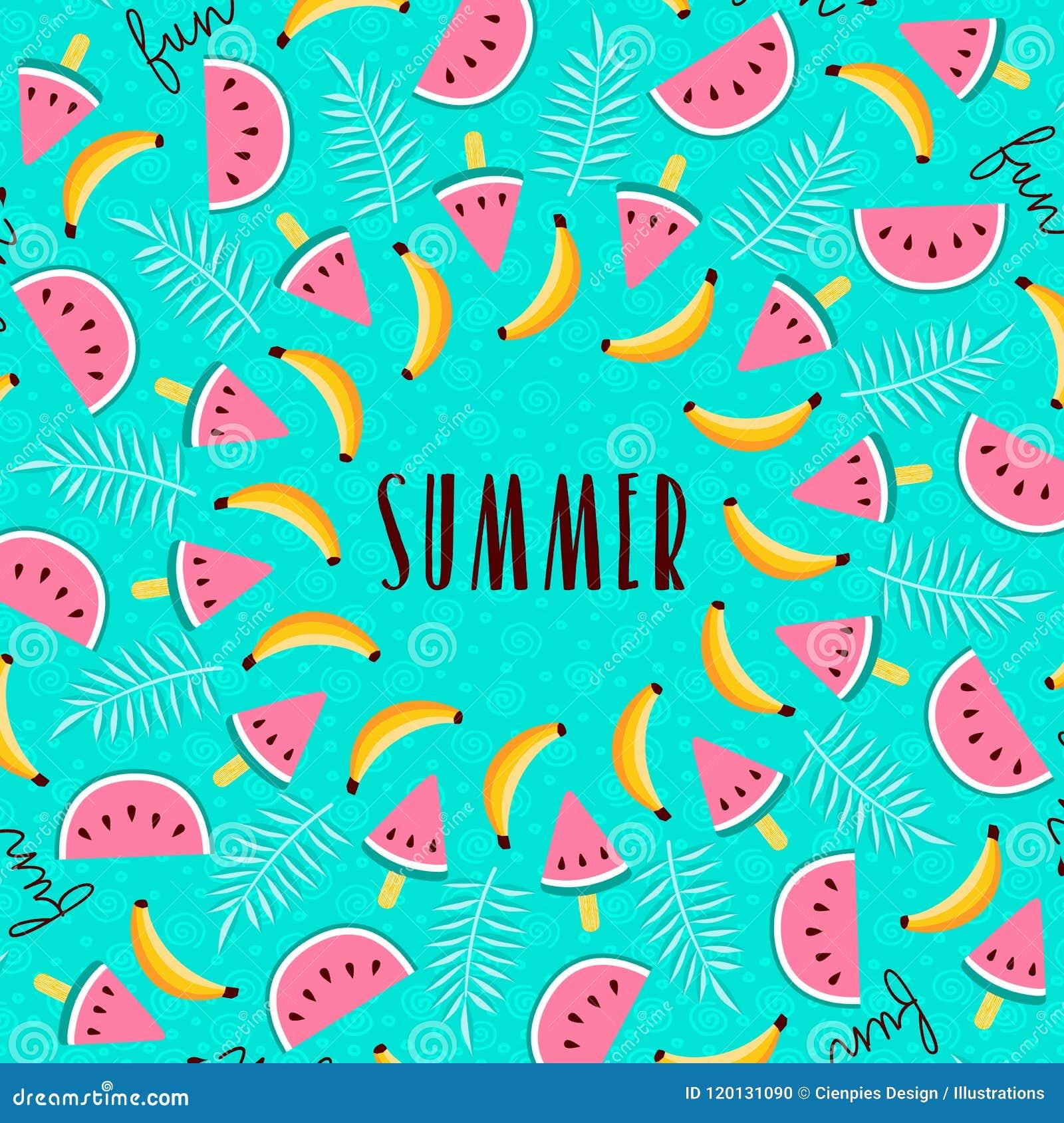 Tropical Summer Season Fruit Greeting Card