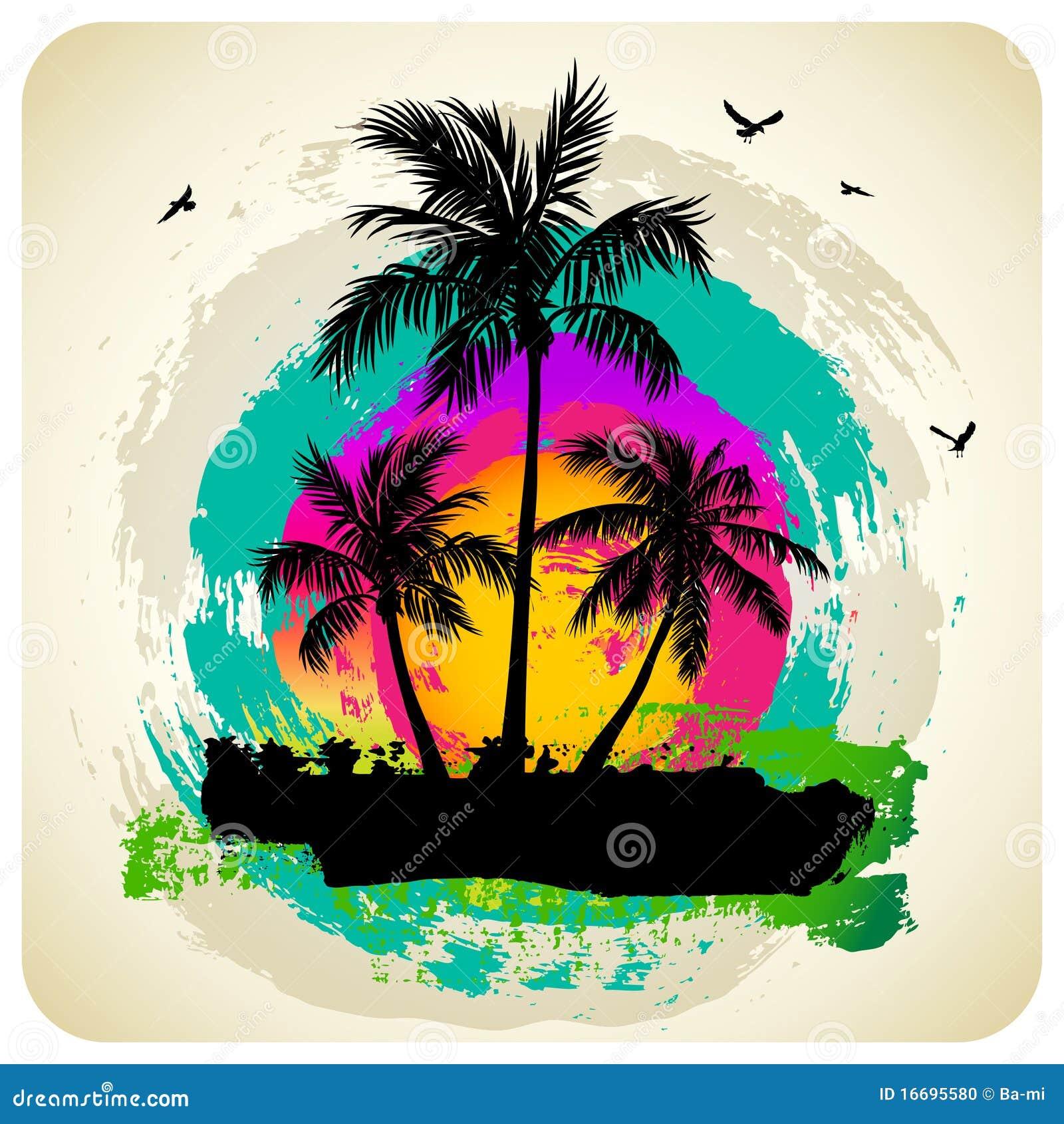 Tropical Sunset Clip Art