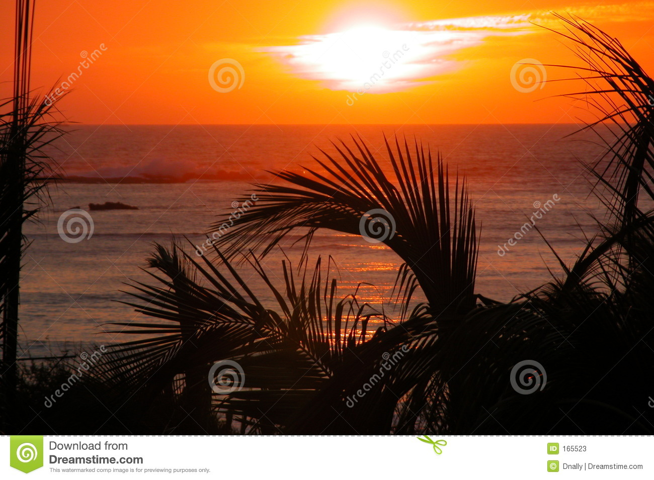 Tropical sunset over ocean
