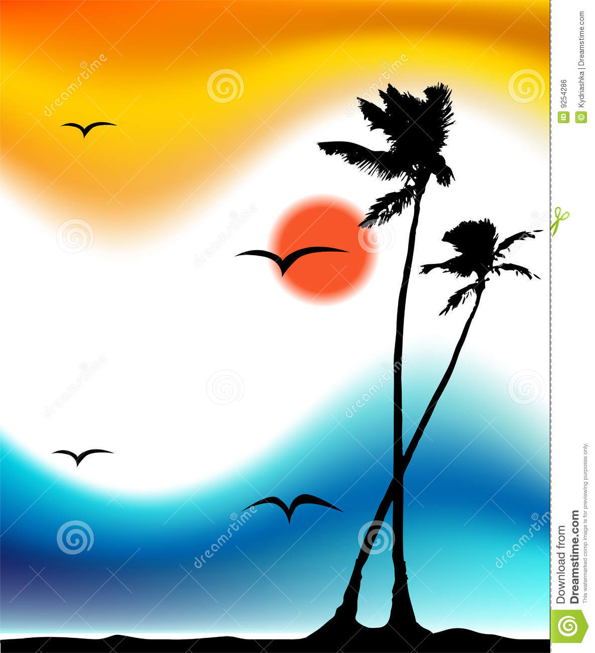 Tropical Sunset Palm Tree Silhouette Stock Vector
