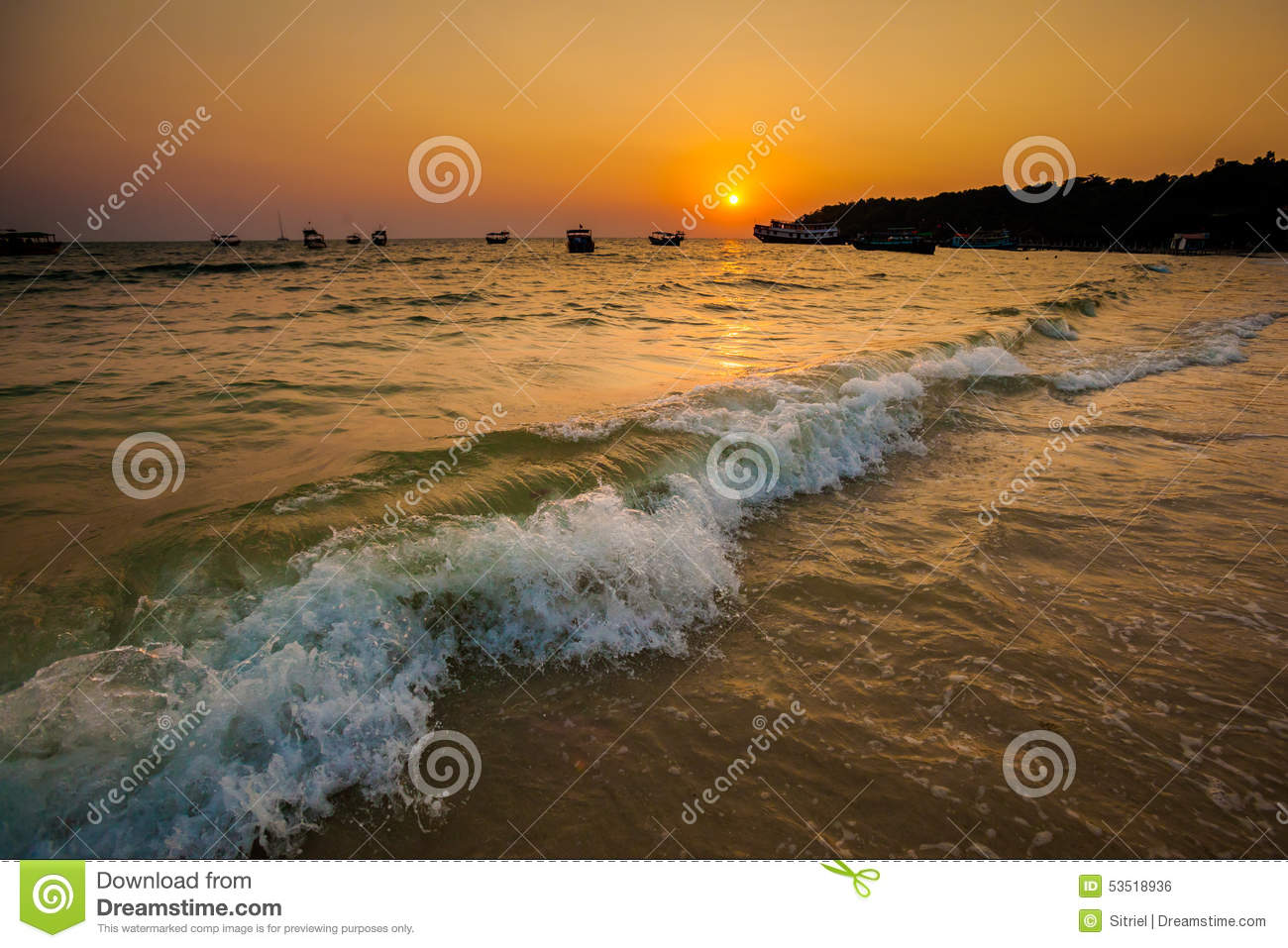 Tropical Sunset In Sihanoukville Stock Photo Image Of