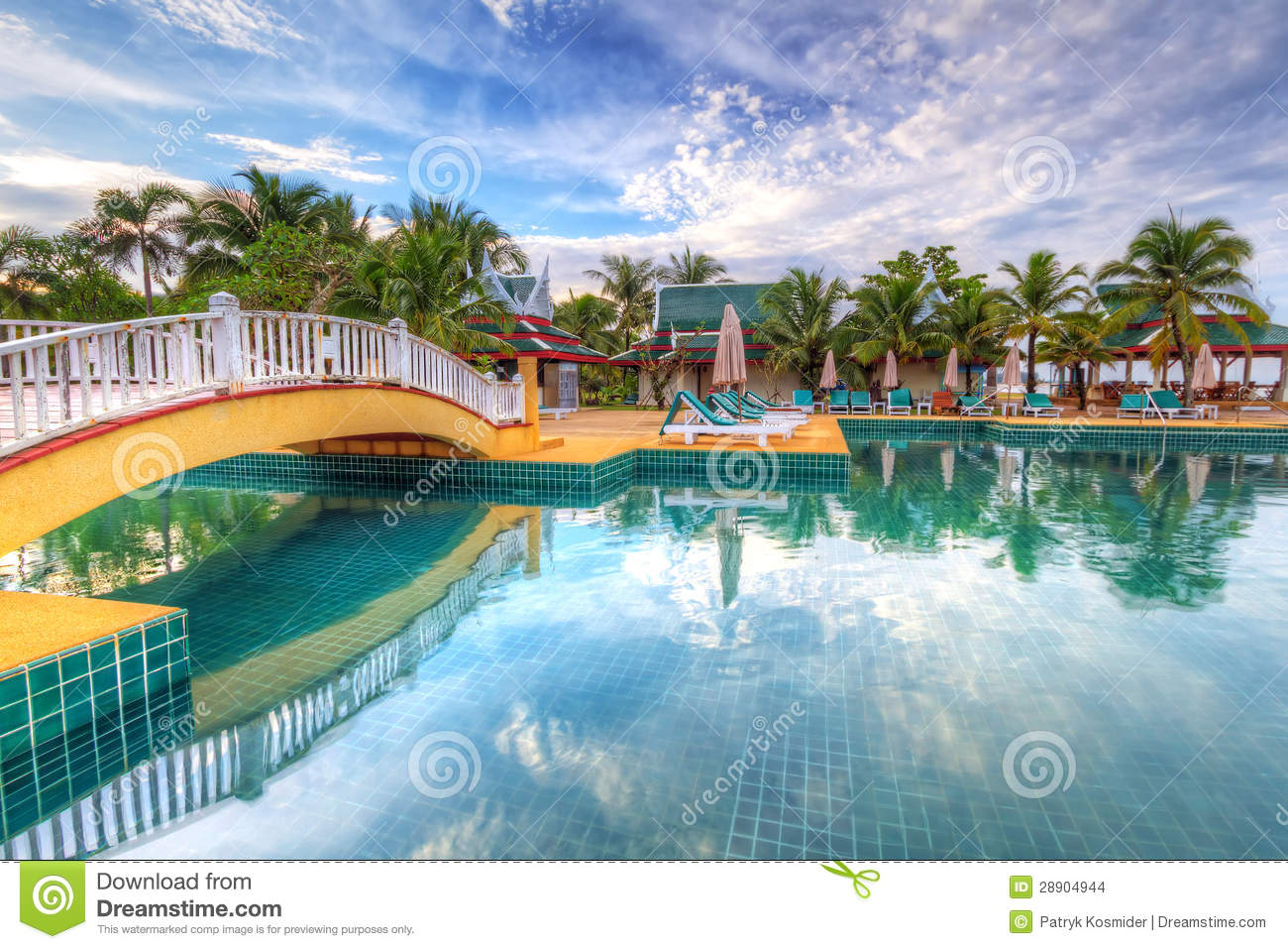 Tropical swimming pool scenery in thailand stock images image