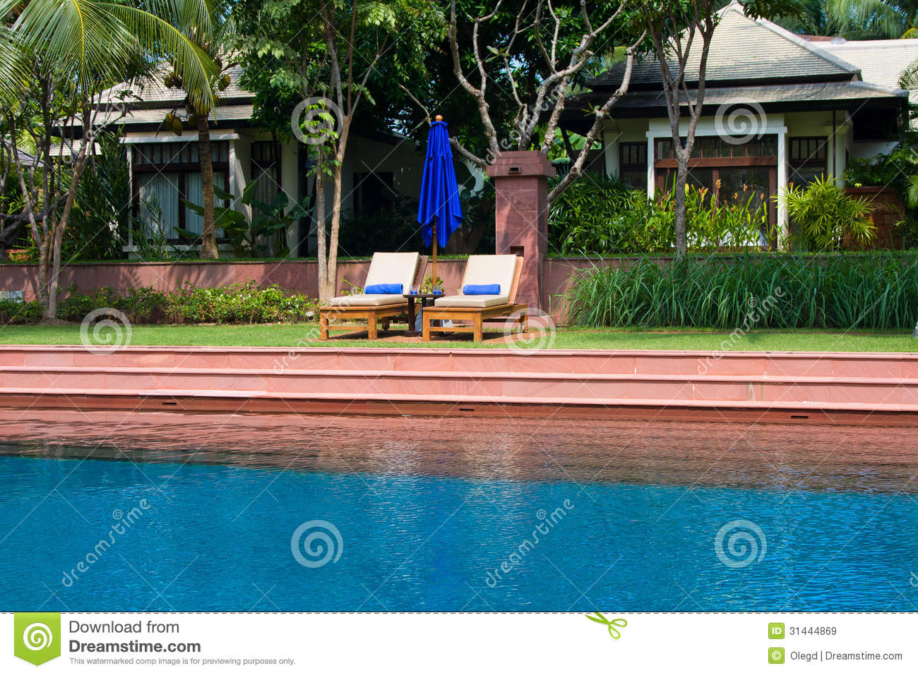 Tropical swimming pool in thailand stock image image for Garden treasures pool clock