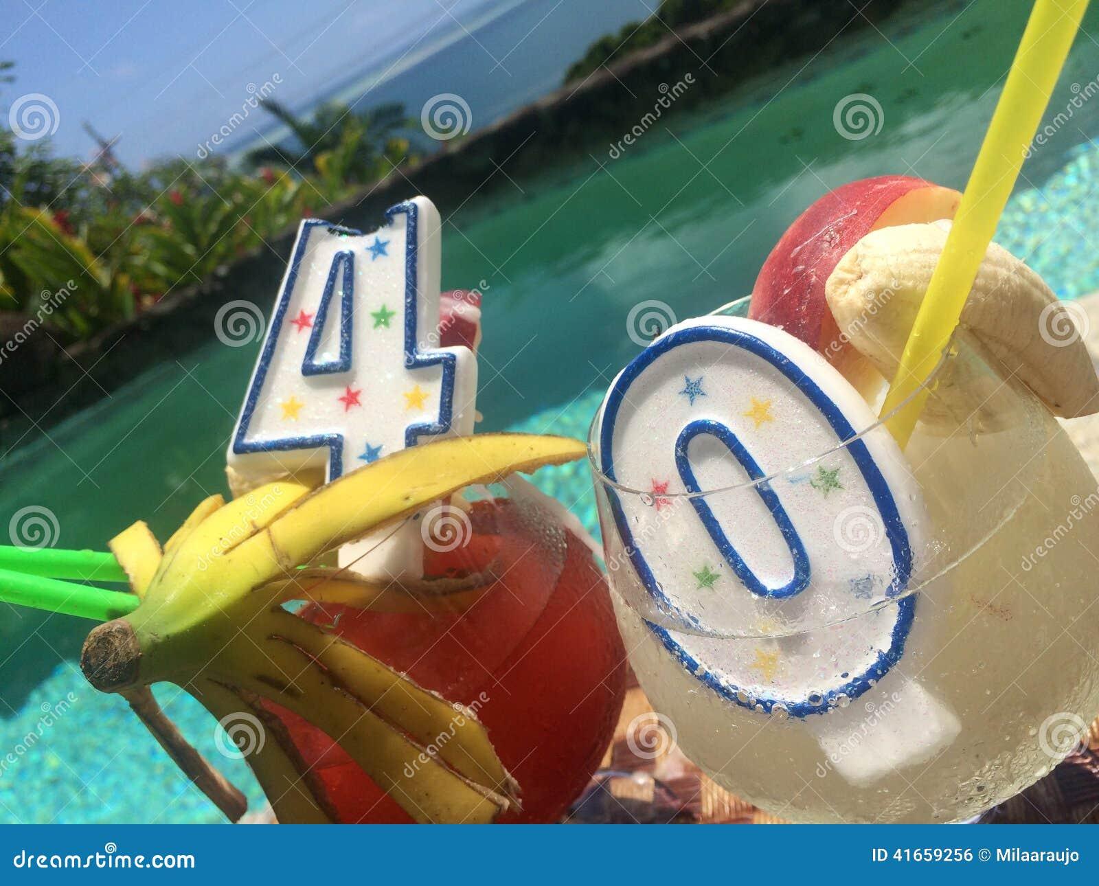 40th Happy Birthday Drinks In Paradise Stock Photo Image