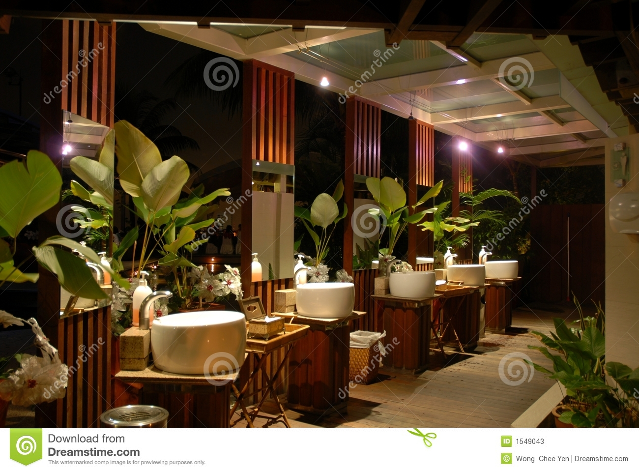 Tropical Island Beach Ambience Sound: Tropical Toilet At Night Stock Photos