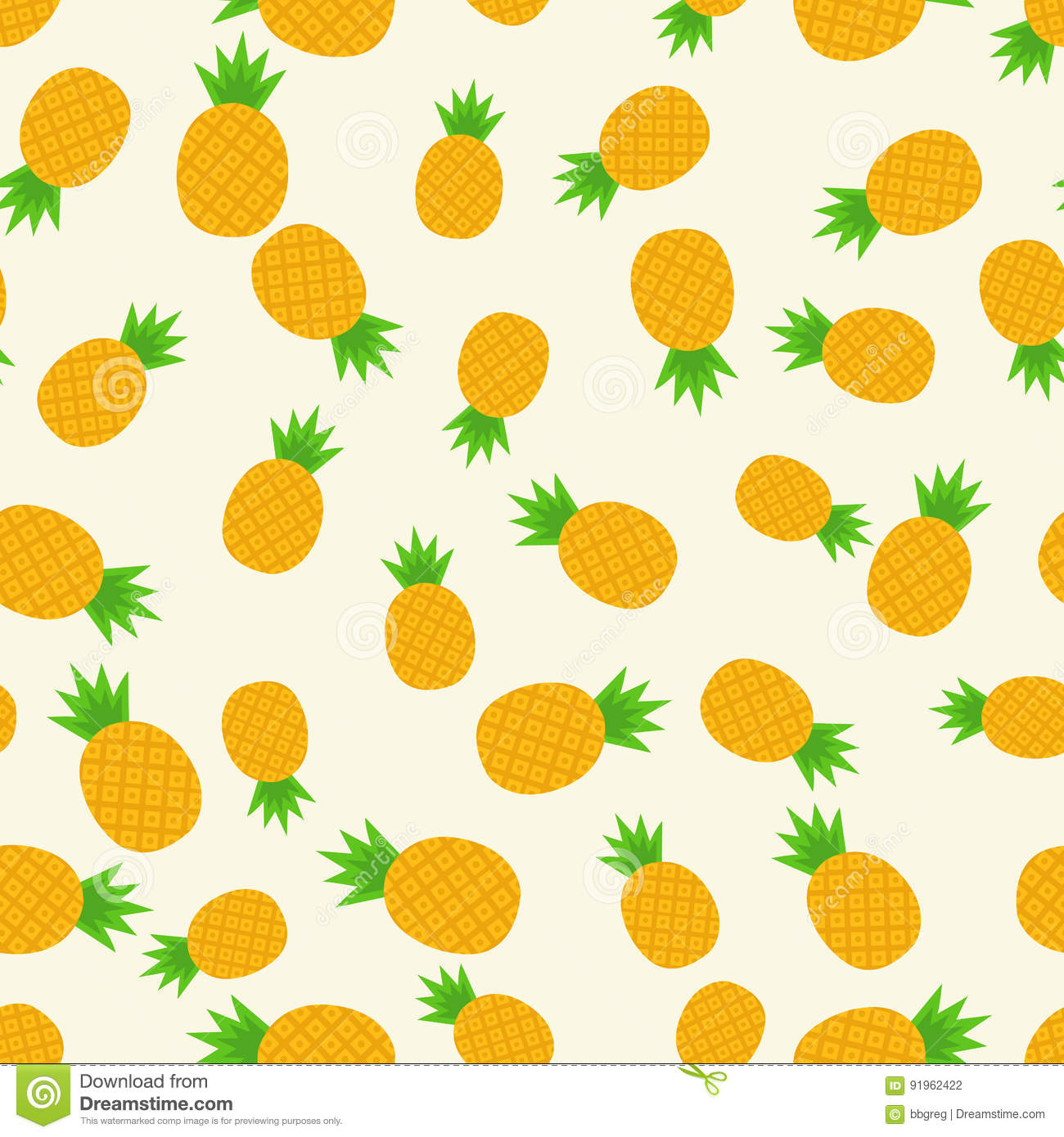 Tropical Trendy Seamless Pattern With Pineapples. Healthy