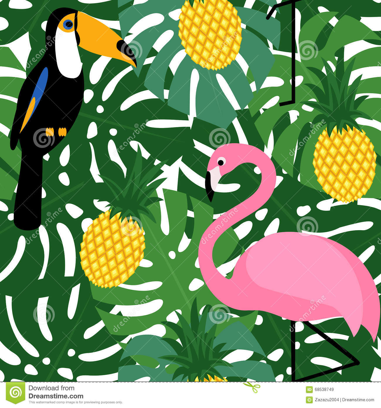 Tropical Trendy Seamless Pattern With Pink Flamingos
