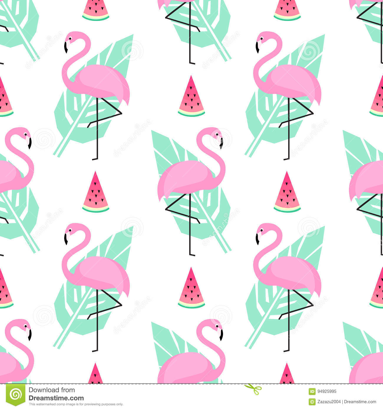 Tropical Trendy Seamless Pattern With Pink Flamingos And