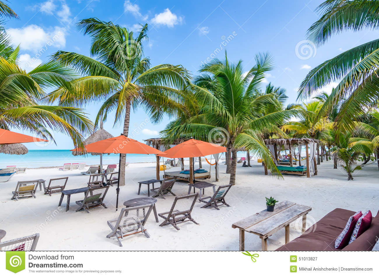 Tropical Vacation Beach Resort View With Palm Trees Stock