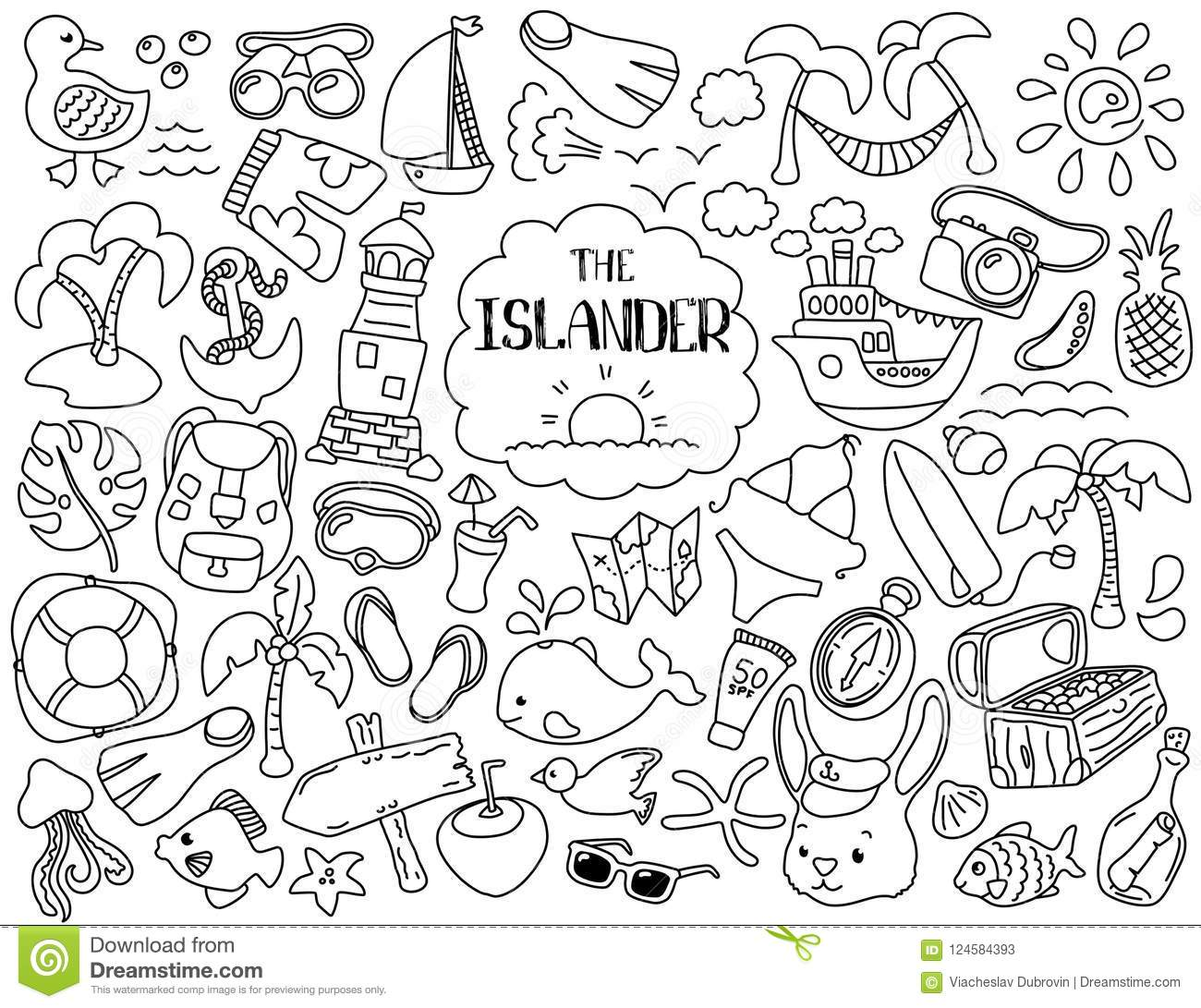 Tropical Vacation And Marine Travel Clipart Black Line Illustrations On White Background Stock Illustration Illustration Of Sail Doodle 124584393