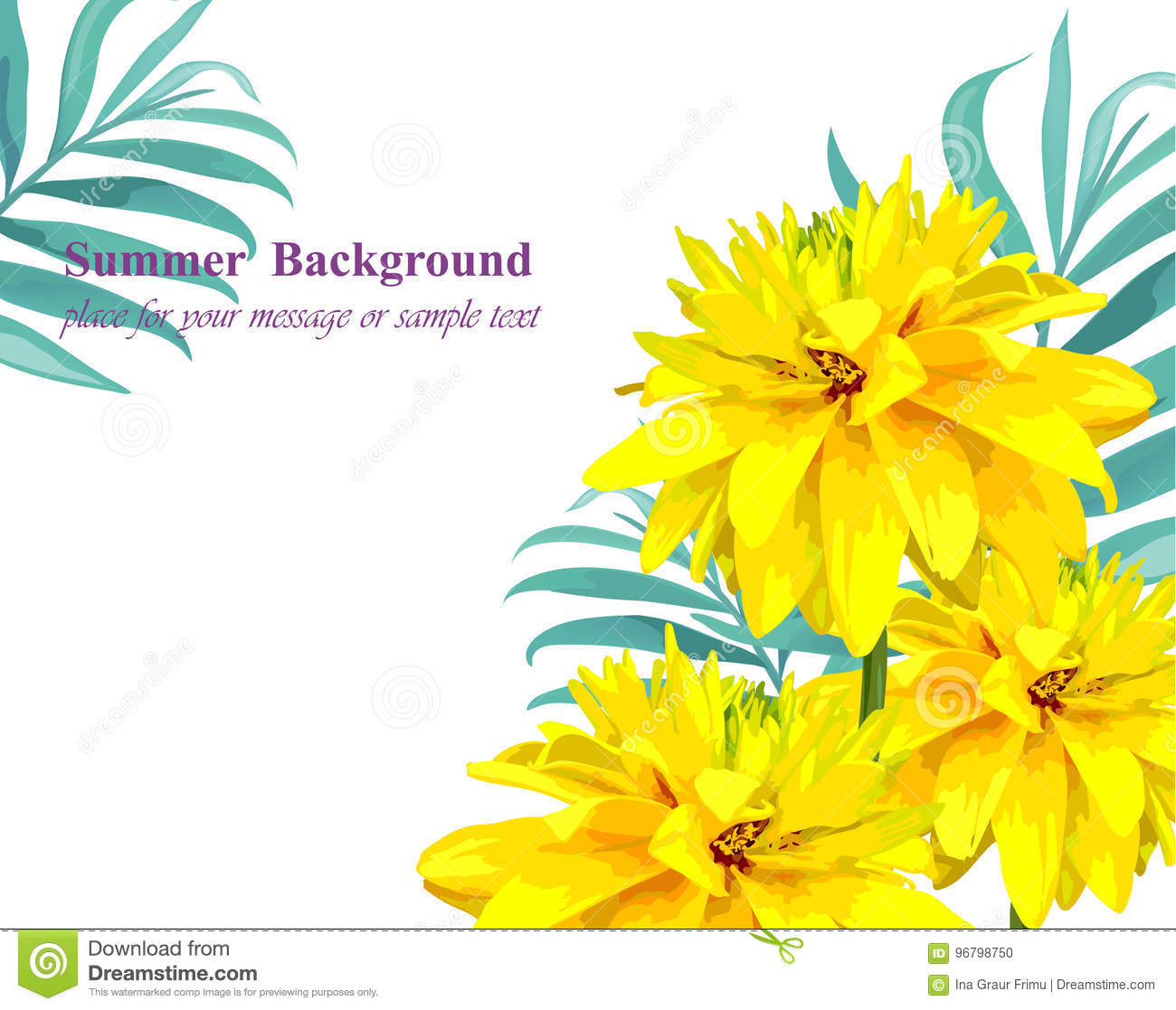 Tropical Vector Floral Card Summerl Template Design With Palm